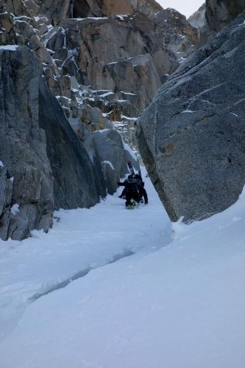 Down climbing the ice