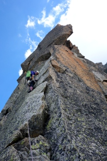 Starting up the crux pitch