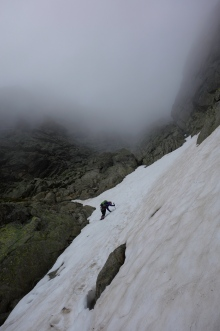 Snow in the exit gully