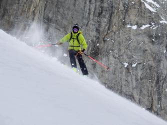 Making some turns at bottom of couloir (Photo Luke)