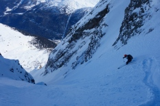 Tim in the main couloir