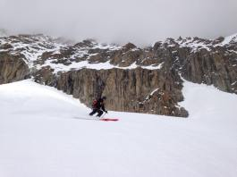 Out of the couloir. Just to the right