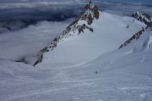 Skiing down the NW face