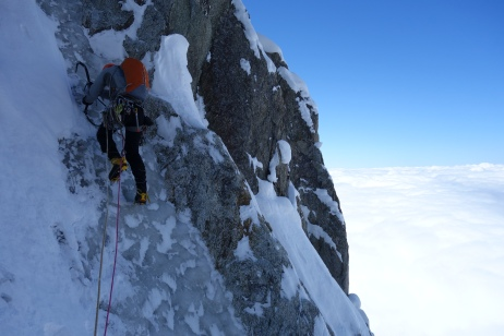Tim on first steep ice