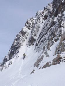 Heading up the mixed couloir