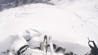Jumping the snow creeps in Italy