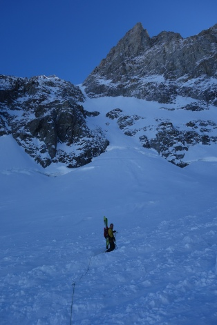 Mikko heading towards the couloir