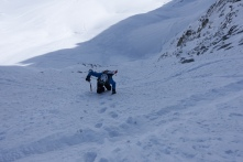 Heading up the lookers left couloir