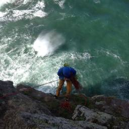 Dave on the windy abseil