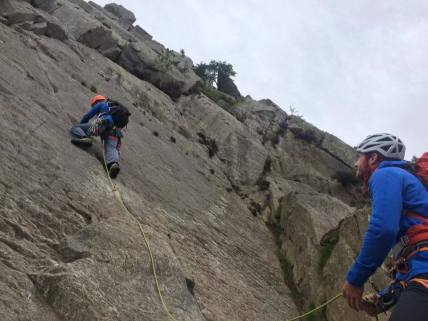 Dave taking us up our first British climb, Milestone Butress